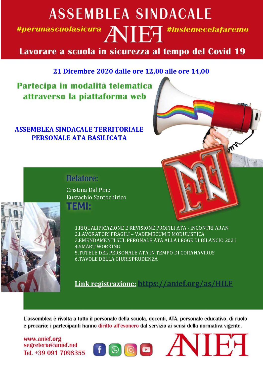 Convocazione di un'assemblea sindacale territoriale per il personale ATA delle istituzioni scolastiche della regione Basilicata