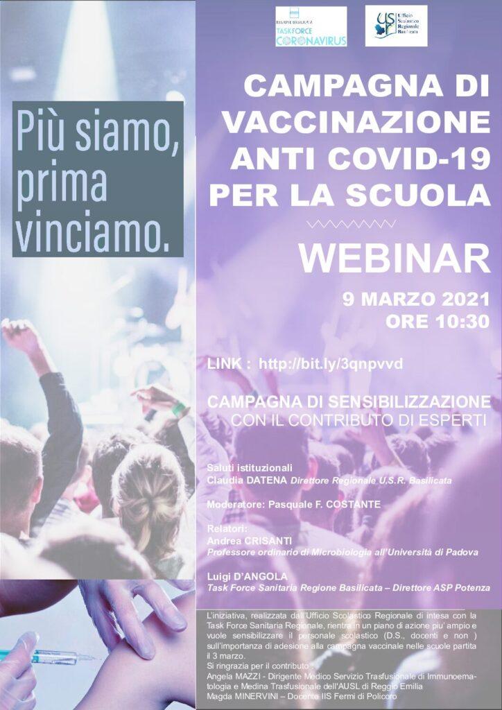 Webinar Campagna di vaccinazione anti Covid-19 per la Scuola – Martedì 9 Marzo 2021 ore 10.30